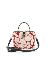 Dolce & Gabbana - Multicolor Rosso and Ecru Embroidered Cady Box Bag - Lyst