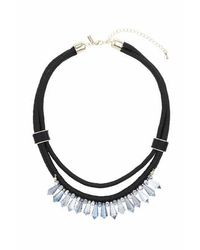 TOPSHOP - Black Sparkle Bead And Cord Necklace - Lyst