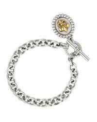 Slane | Metallic 18K Gold & Sterling Silver Fleur De Lis Charm Bracelet | Lyst