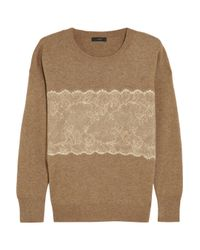 J.Crew - Brown Needle-Punched Lace Fine-Knit Sweater - Lyst