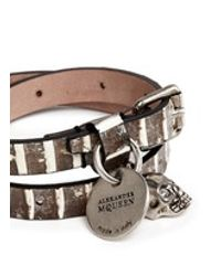 Alexander McQueen - Multicolor Skull Charm Double Wrap Python Leather Bracelet - Lyst