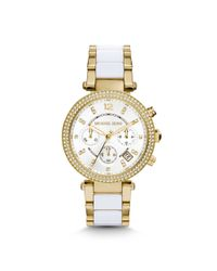 Michael Kors - Metallic Parker Pavé Gold-tone Acetate Watch - Lyst