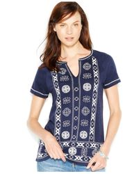 Lucky Brand | Blue Lucky Brand Short-sleeve Embroidered Top | Lyst