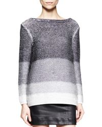 Helmut Lang | Black Plaited Degrade Knit Sweater | Lyst