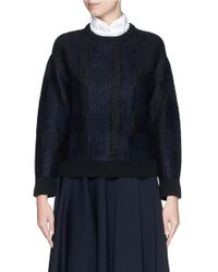Alexander McQueen - Black Checkerboard Jacquard Mohair Knit Sweater - Lyst