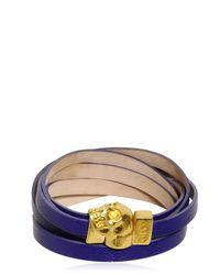 Alexander McQueen - Purple Skull Multi Rows Leather Bracelet - Lyst