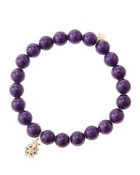Sydney Evan - 8mm Purple Mountain Jade Beaded Bracelet with 14k Golddiamond Medium Ladybug Charm Made To Order - Lyst