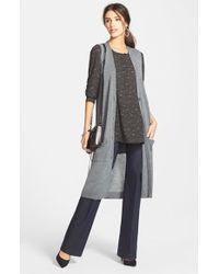 Halogen | Gray Longlined Merino-Blend Sweater | Lyst