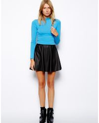 ASOS - Blue Crop Top with Long Sleeves and Turtle Neck - Lyst
