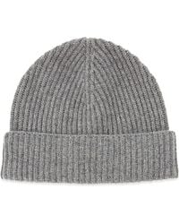 Johnstons - Gray Ribbed Cashmere Beanie - Lyst
