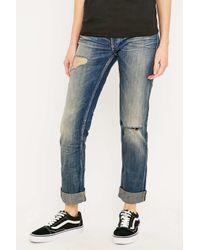 Calvin Klein | Boyfriend Ripped Blue Slim Jeans | Lyst