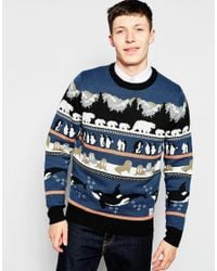 Bellfield | Blue Knitted Christmas Jumper With Arctic Animal Jacquard | Lyst