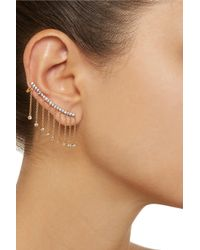 Noir Jewelry - Metallic Fringed Gold-Tone Cubic Zirconia Ear Cuffs - Lyst