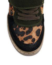Ash | Black Cheetah-Print Pony Hair Wedge Sneakers | Lyst