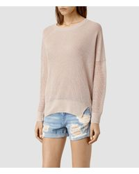 AllSaints | Pink Row Sweater | Lyst