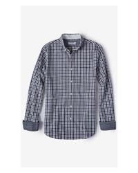 Express - Blue Soft Wash Check Plaid Shirt - Teal for Men - Lyst