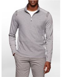 Calvin Klein - Gray White Label Classic Fit Textured 1/4 Zip Long Sleeve Shirt - Lyst