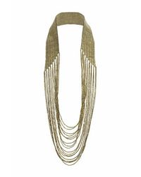 TOPSHOP - Metallic Beaded Multirow Drape Necklace - Lyst