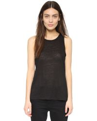 T By Alexander Wang | Black Silk-chiffon And Crepe De Chine Tank | Lyst