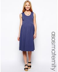 Lyst - ASOS Sleeveless Midi Skater Dress in Blue e1bf73542