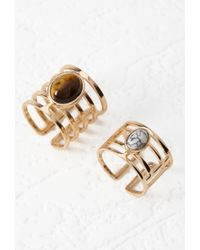 Forever 21 | Metallic Faux Stone Cutout Ring Set | Lyst
