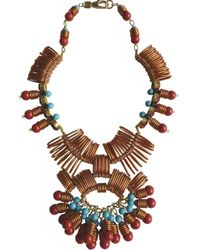 Kirsty Ward - Brown Wire Looped Necklace With Crystals In Bronze/blue/red - Lyst
