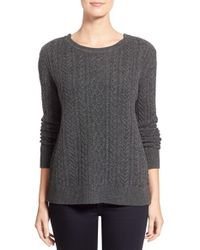 Nordstrom Collection | Gray Zip Shoulder Cable Wool & Cashmere Sweater | Lyst