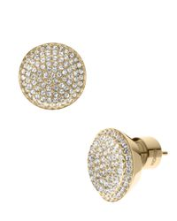 Michael Kors - Metallic Gold Tone Concave Pave Stud Earrings - Lyst