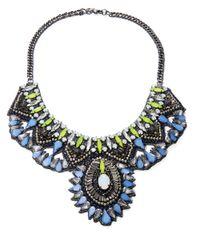 Deepa Gurnani | Metallic Crystal And Nappa Leather Bib Necklace- 10 In | Lyst