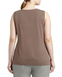 Lafayette 148 New York - Brown Needle-stitch Matte Crepe Shell - Lyst