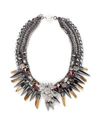 Assad Mounser | Metallic Swarovski Crystal Pendant Spike Collar Necklace | Lyst