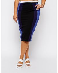 ASOS - Blue Exclusive Pencil Skirt With Contrast Panels - Lyst