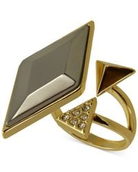 Guess | Metallic Gold-tone Bypass Ring | Lyst