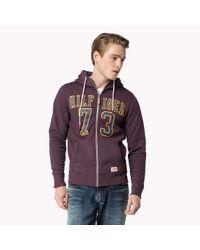 Tommy Hilfiger | Purple Cotton Blend Zip Through Sweater for Men | Lyst