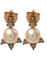 Annoushka | Pink Rose Gold Diamond And Pearl Stud Earrings | Lyst