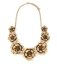 Forever 21 - Metallic Floral Metal Necklace - Lyst