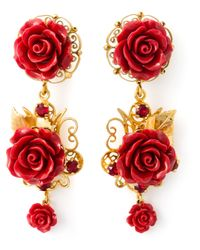 Dolce & Gabbana | Metallic Filigree Rose Clip-On Earrings | Lyst