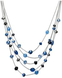 Style & Co. | Silver-tone Blue Five-row Illusion Necklace | Lyst