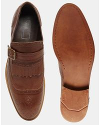 ASOS | Monk Shoes In Brown Leather With Fringe And Strap for Men | Lyst