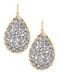 Panacea - Metallic Hematite Beaded Teardrop Earrings - Lyst