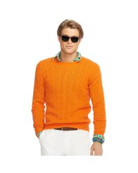 Polo Ralph Lauren | Orange Cable-knit Cashmere Sweater for Men | Lyst