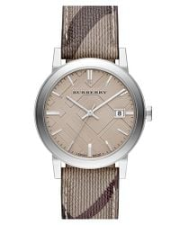 Burberry | Gray Smoke Check Strap Watch | Lyst