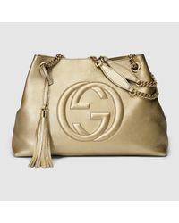 4f64548b7819 Lyst - Gucci Soho Metallic Leather Shoulder Bag in Metallic