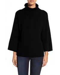 Vince Camuto | Black Ribbed Turtleneck Sweater | Lyst