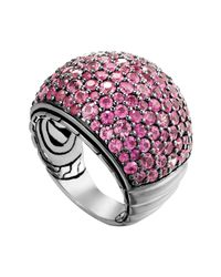 John Hardy | Bedeg Silver Lava Pink Sapphire Dome Ring | Lyst