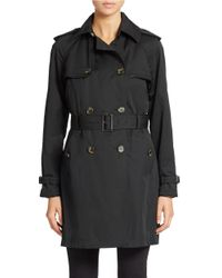 Jones New York - Black Petite Double Breasted Belted Trench Coat - Lyst