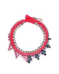 Joomi Lim - Red Cotton Braid Crystal Necklace - Lyst