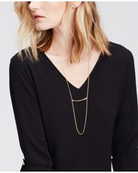 Ann Taylor - Metallic Bar Pendant Necklace - Lyst