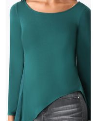 Bebe - Green Dramatic Chiffon Back Top - Lyst