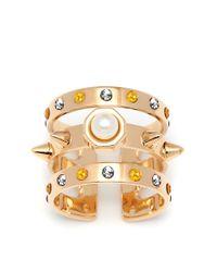 Maria Francesca Pepe | Metallic Swarovski Pearl And Swarovski Crystal Encrusted Triple Cuff Band | Lyst
